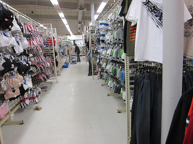 Northern Store, looking down a clothing aisle.