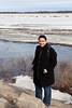 Kathryn Culek in front of the Moose River during breakup 2011 April 28