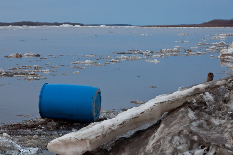 Plastic barrel brought along by the ice. This was earlier located near the mouth of Store Creek.
