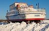 Tour boat the Polar Princess in storage in Moosonee, Ontario.