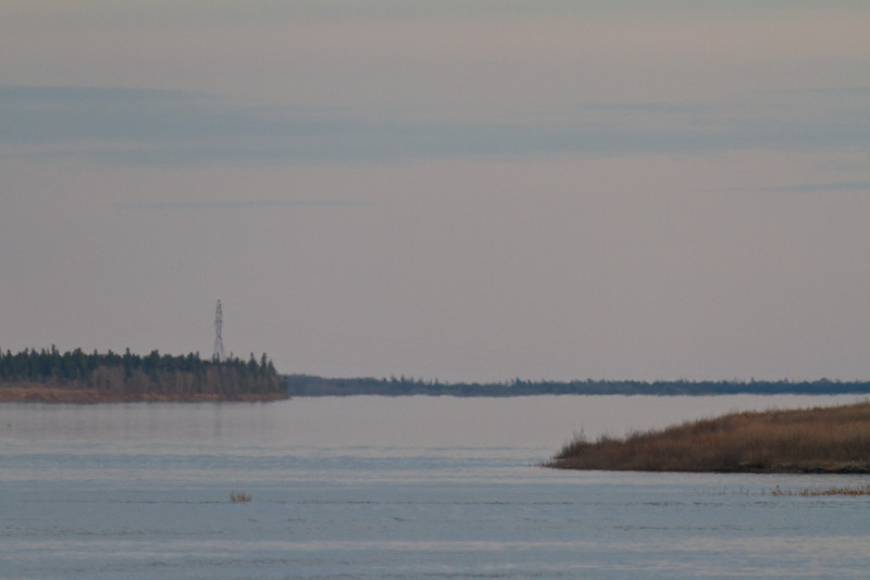 Looking up the Moose River on a hazy dusty evening