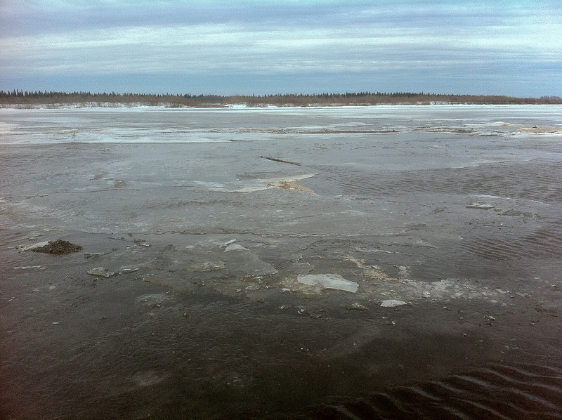 Ice and water at the base of McCauley's Hill