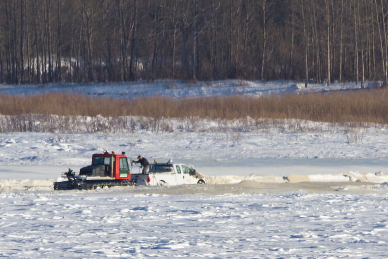 Salvaging a truck on the Moose River 2011 February 20th.