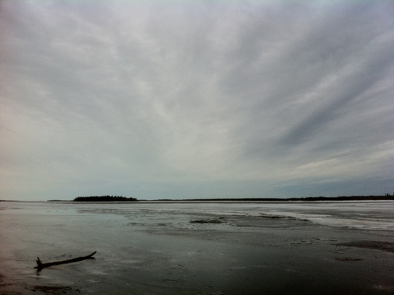 Looking towards Butler Island from the bottom of McCauley's Hill, start of the winter road to Moose Factory