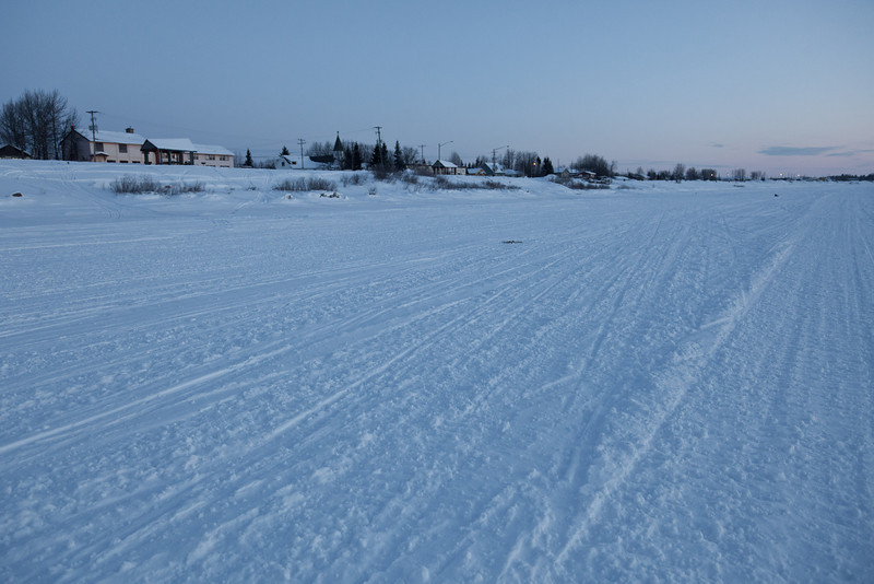 Views from the river 2011 January 30th, Moosonee shoreline looking down river.