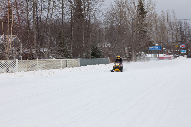 Snowmobile on Ferguson Road.