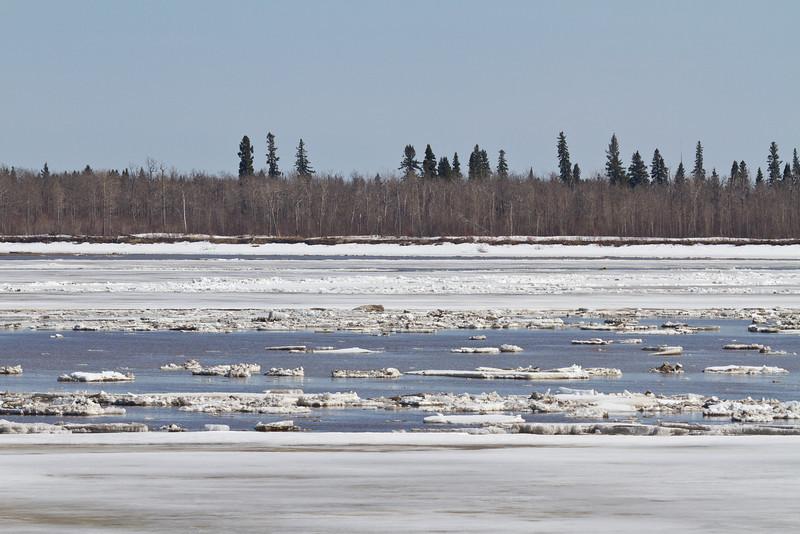 Ice floating or stranded on sandbar