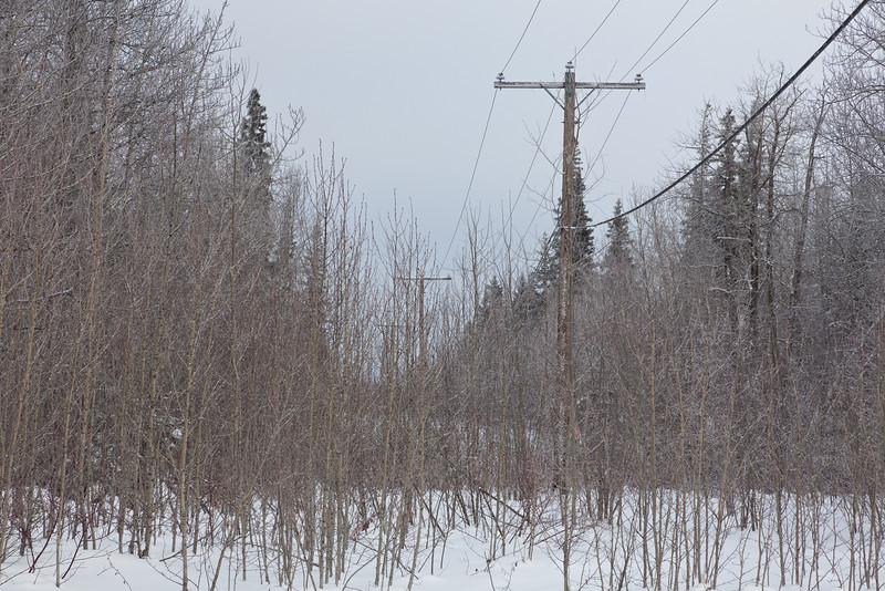 Power lines heading across Butler Creek to Moosonee Airport.