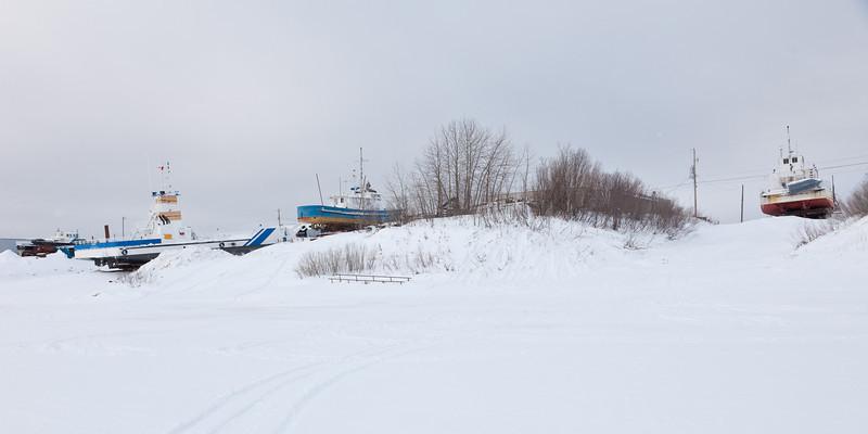 Boats in winter storage