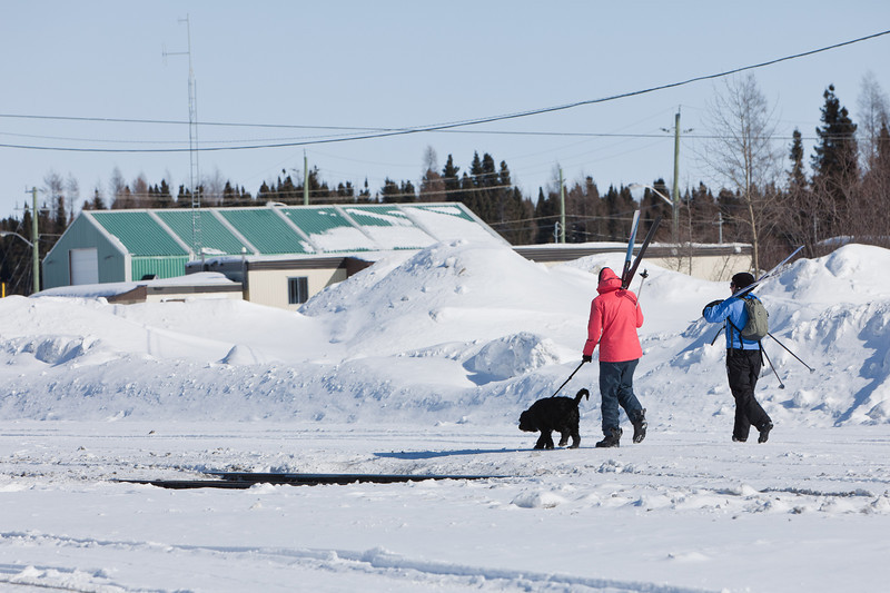 Skiers with dog.