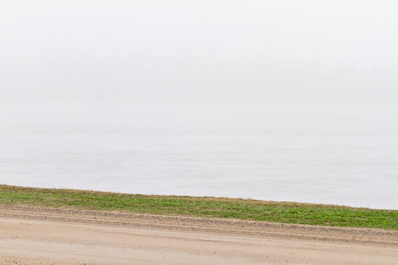 2011 May 13 fog looking across Revillon Road towards Butler Island