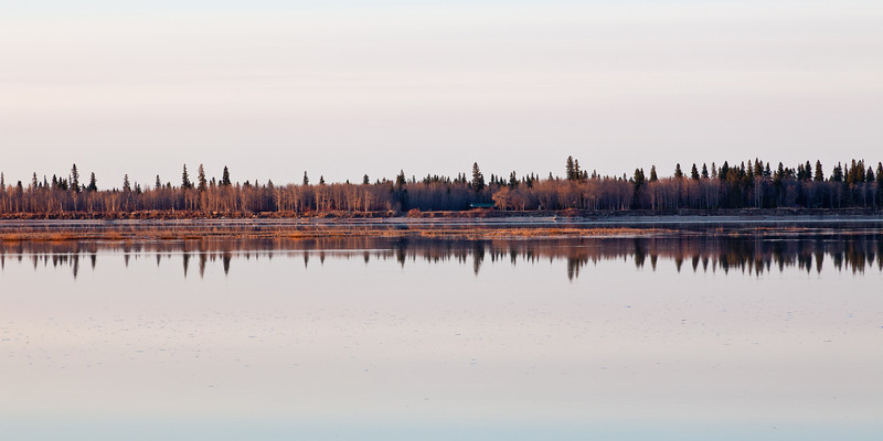 Morning reflections of trees and islands.