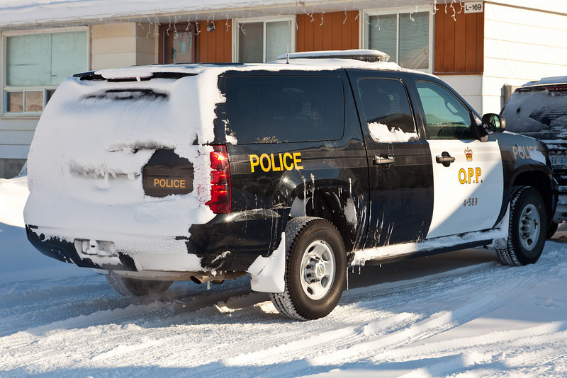 Police vehicle after snowfall