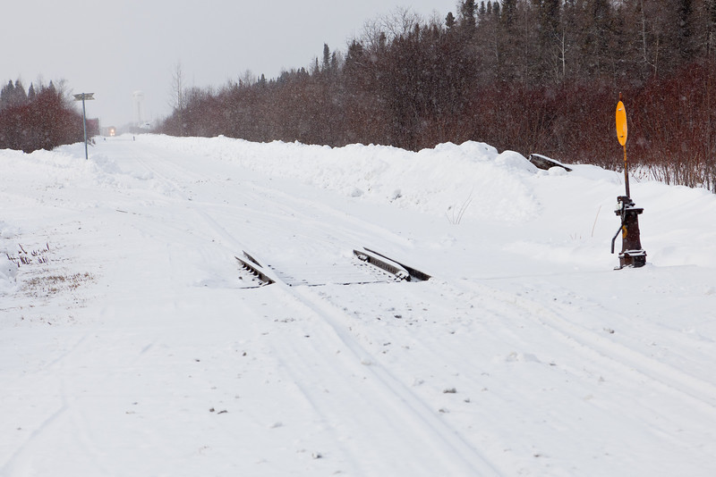 View from winter road crossing towards Moosonee station.