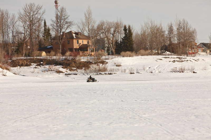 Snowmobile at mouth of Store Creek.