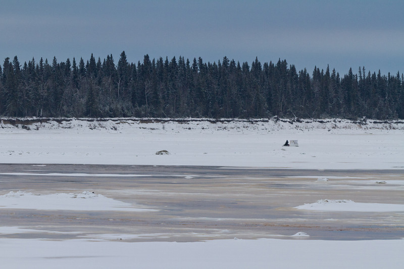 2011 December 12 looking up the Moose River. Looks like some water on top of the ice.