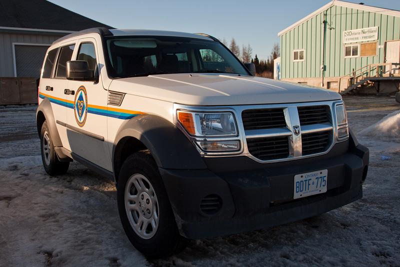 Emergency Measures Ontario (EMO) vehicle parked near Moosonee train station 2011 April 2nd.