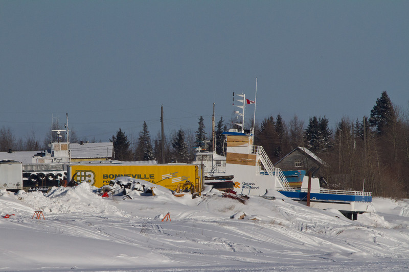Barge and tug in winter storage.