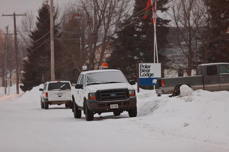 Vehicles parked outside Polar Bear Lodge