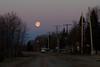 Full moon in the morning over Revillon Road