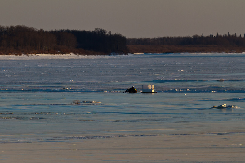 Snowmobile on the Moose River evening of 2011 April 14th