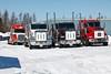 Trucks along Revillon Road in Moosonee
