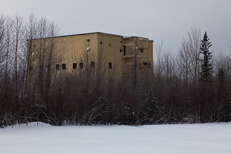 Former base in Moosonee: base structures for radomes (removed).