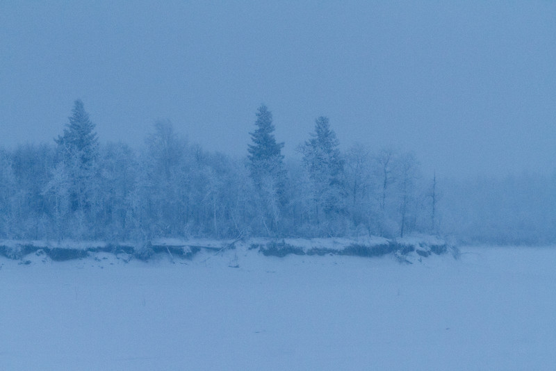 South end of Butler Island in the Moose River across from Moosonee, Ontario 2011 January 15th before dawn.