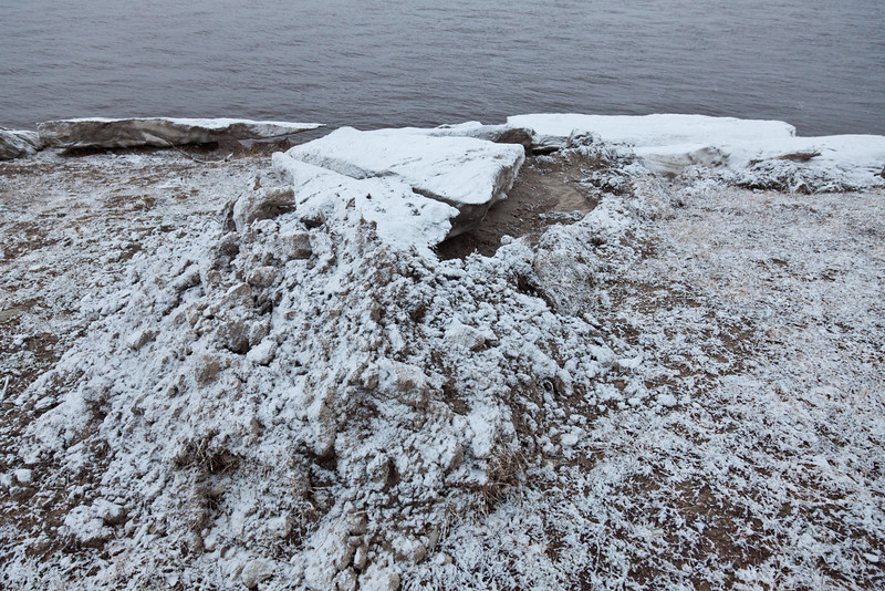 Stranded ice that pushed the carefully prepared shoreline dirt out of the way 2011 May 7th