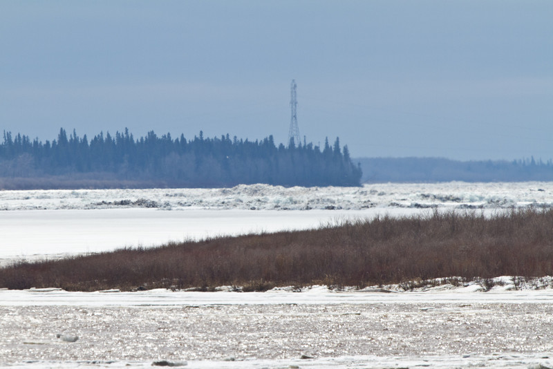 1:45 pm 2011 April 28th looking upriver, piles of ice on the way