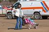 Janet Solomon and children arriving in Moosonee.