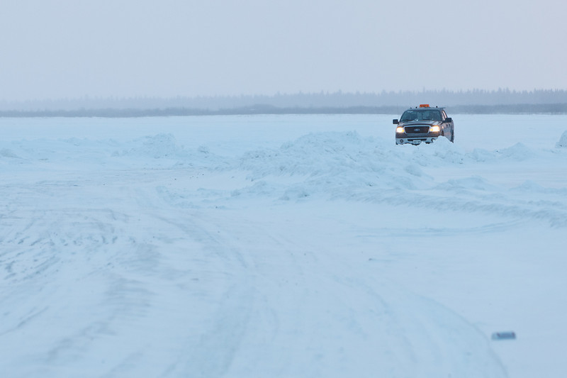 Traffic from Moose Factory to Moosonee just after sunrise
