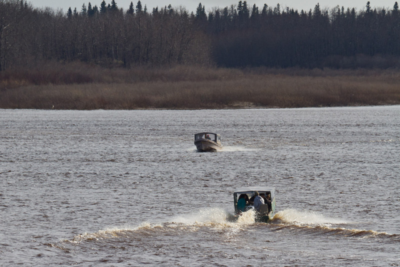 Taxi boats on the Moose River in moderate wind