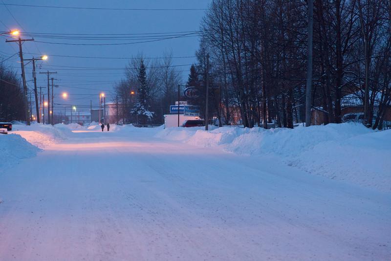 Ferguson Road in Moosonee looking towards downtown from Butcher Street 2011 January 21st.