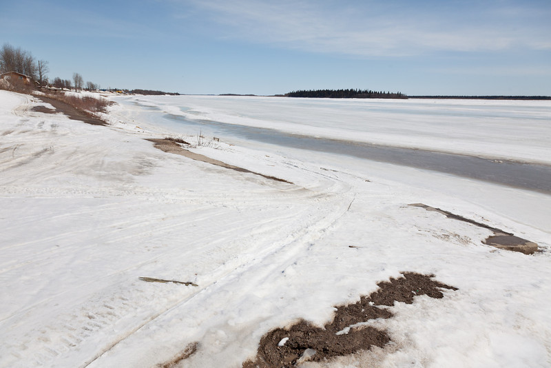 View of the Moose River looking downstream from public dock site 2011 April 12