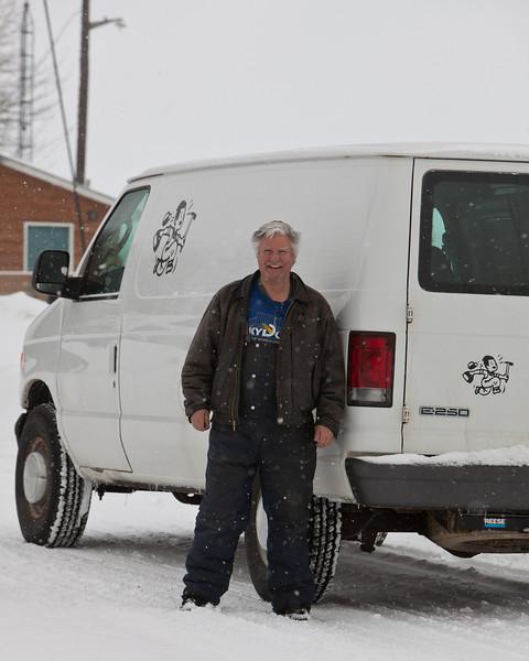 Jack Bustraen in front of Polar Bear Lodge in Moosonee 2011 February 24th.