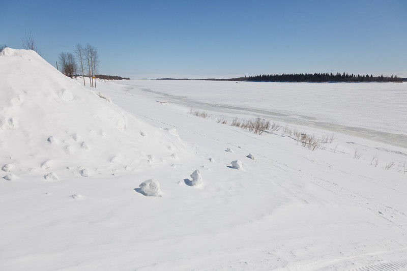 2011 March 23rd looking down the Moose River from near Fourth Street in Moosonee, Ontario.