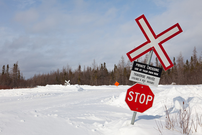 Winter road rail crossing signs