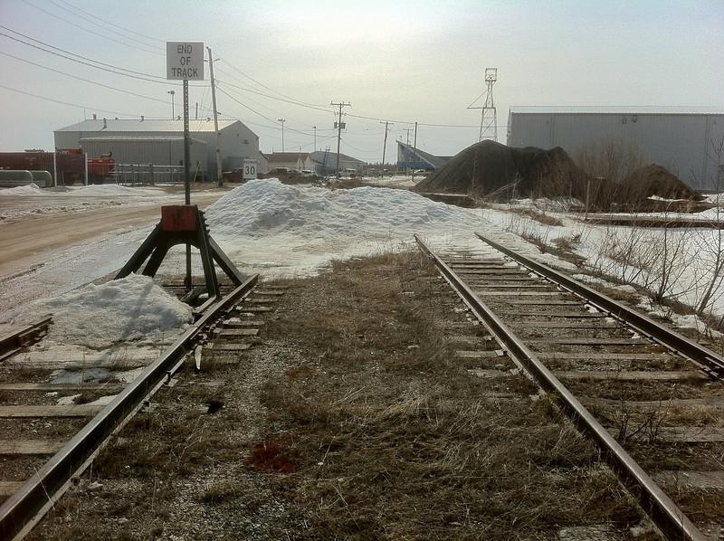 Moosonee Airport end of tracks. Both sidings shown. Track bumper