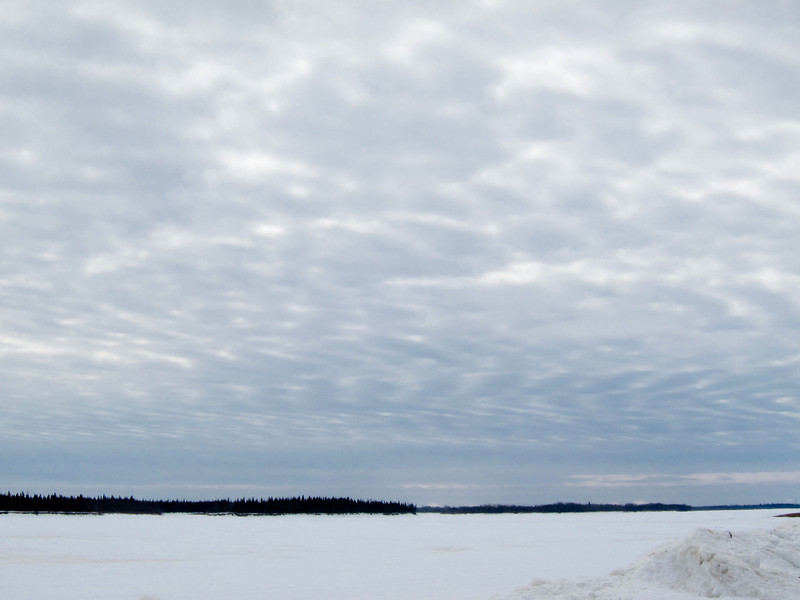 Clouds and ice looking upstream.