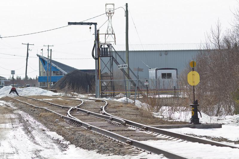 End of Ontario Northland Railway tracks at Moosonee Airport.