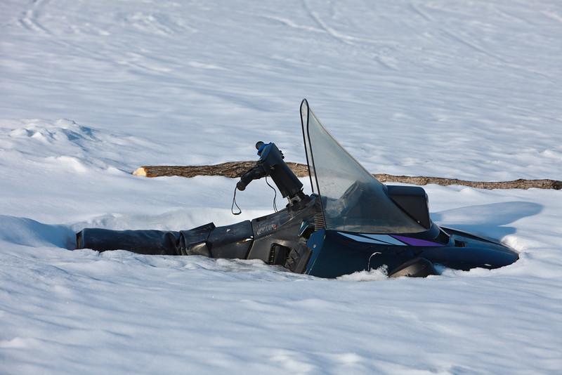 Remnants of a snowmobile near Bushy Island.