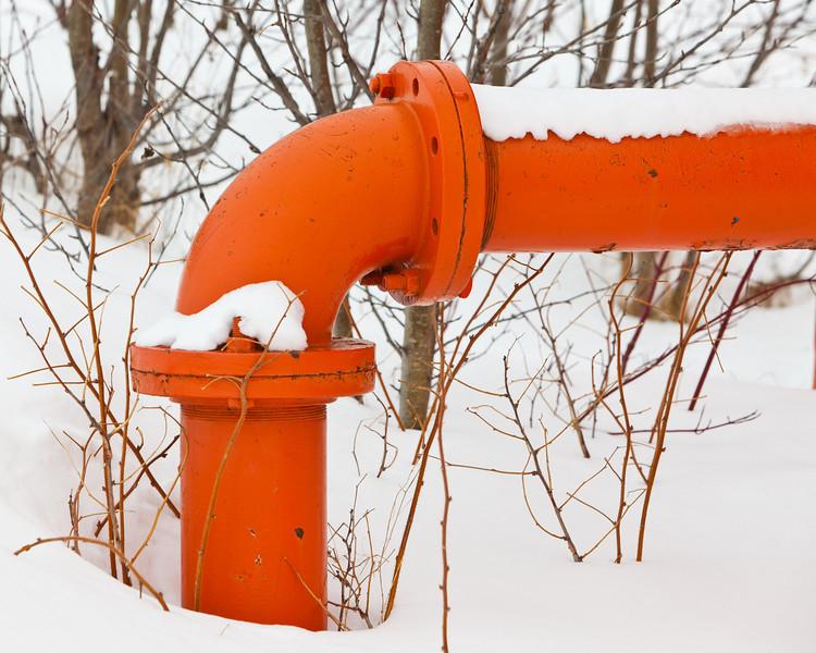 Pipe at Moosonee water tower.