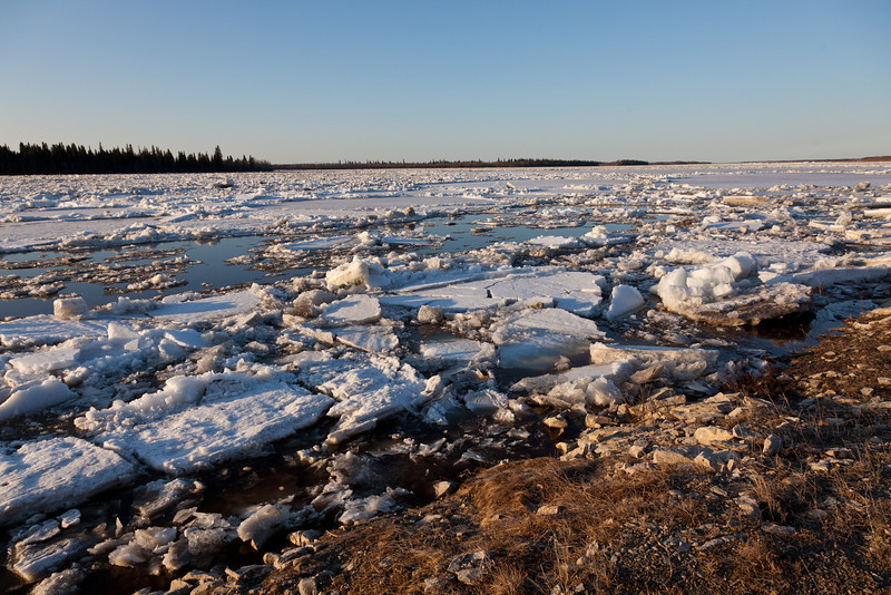 River ice looking upstream