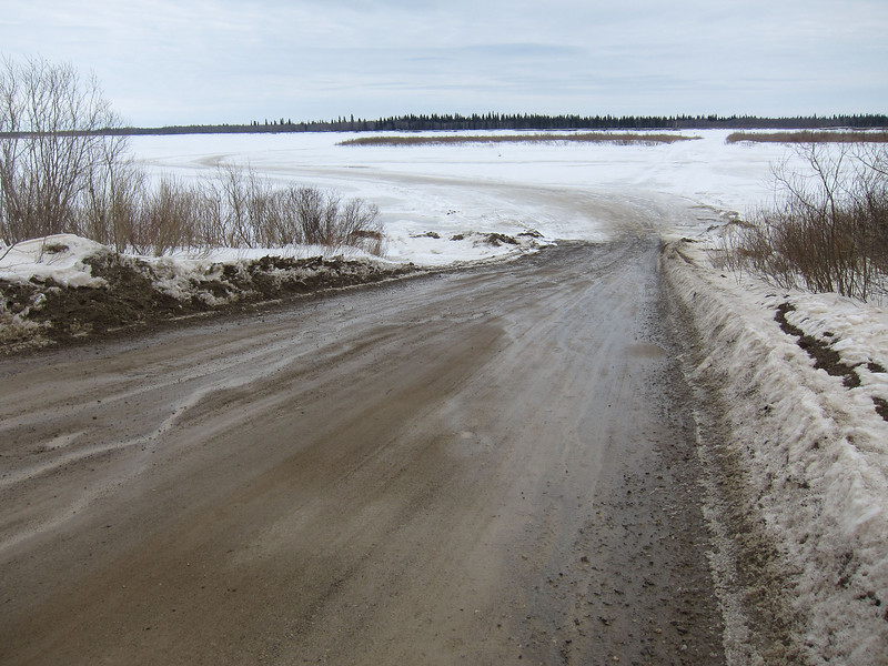 First day of spring view of the road to Moose Factory from Moosonee across the Moosonee 2011 March 20th