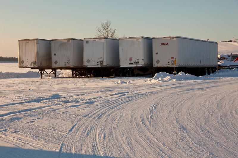 Trailers along Revillon Road in Moosonee, Ontario.