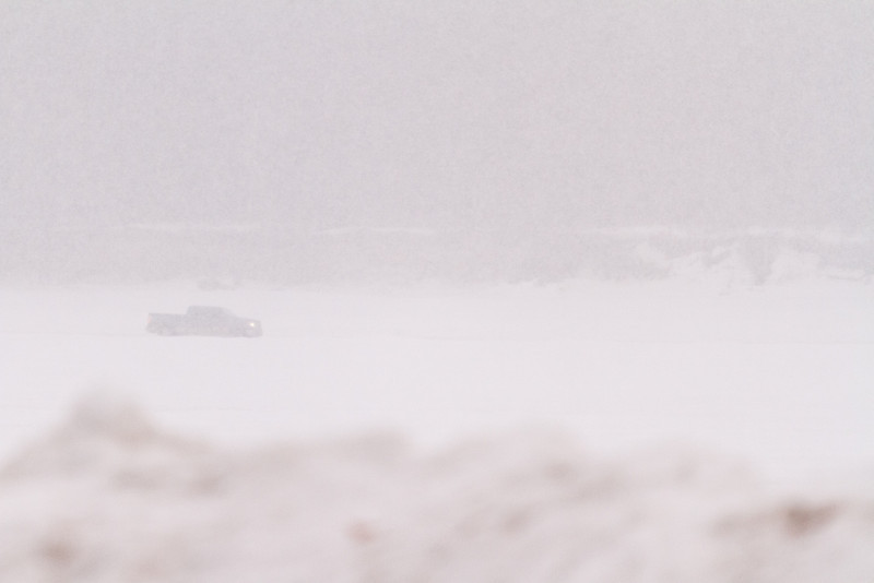 Truck on the Moose River in heavy snow 2011 April 4th.