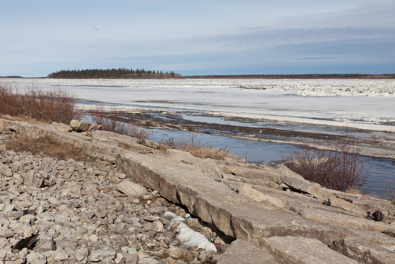 Ice on the Moose River near the mouth of Store Creek