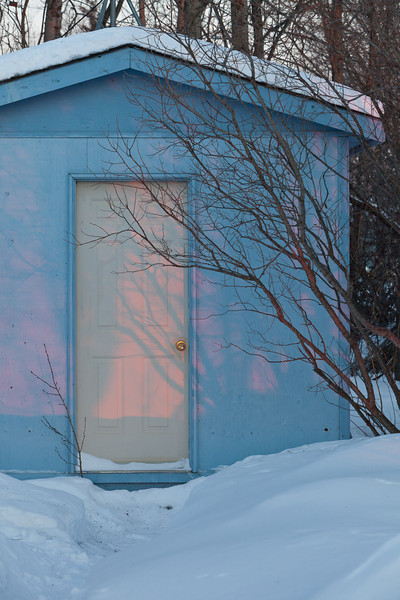 Shed behind clinic at sunrise.