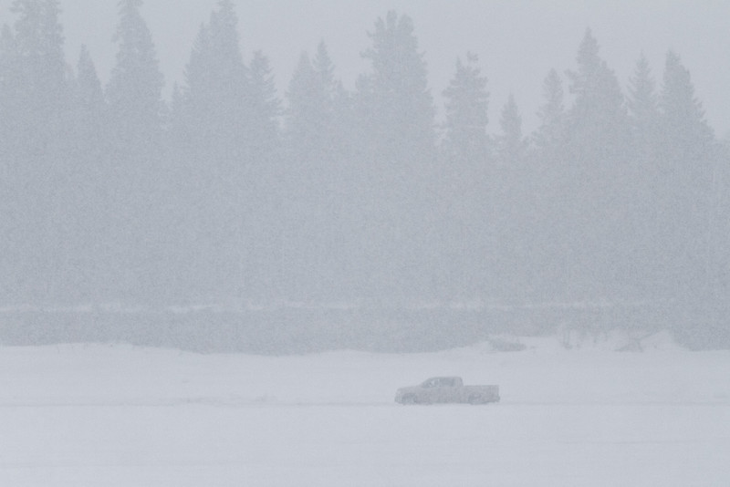 Truck in front of Butler Island with snow falling 2011 April 4th